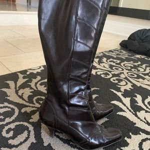 Below the knee pleather boots BROWN